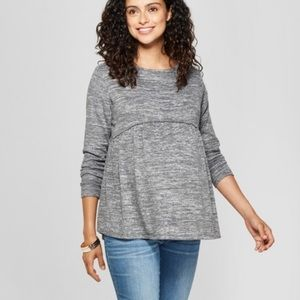 NWT Isabel Maternity relaxed baby doll Tee Gray M